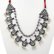 Designer Lakshmi Necklace in pure silver - II