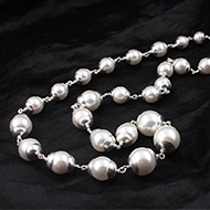 Pearl Necklace in plain silver caps
