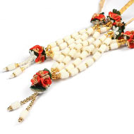 Pearl with Rose Deity Garland - Set of 2 - Design II