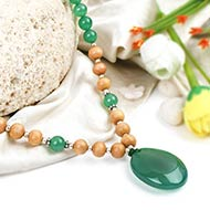 Green Jade and White Sandal beads Mala