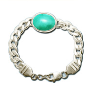 Turquoise Bracelet in Thick Silver Chain