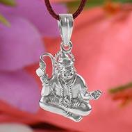 Hanuman Mudra locket in pure silver - I