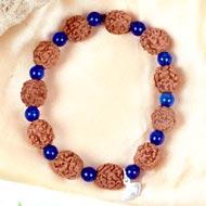 4 mukhi Brahma bracelet from Java with Blue Jade beads