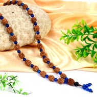 4 mukhi Brahma mala with Blue Jade beads