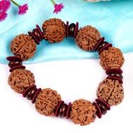 4 Mukhi Nepal Bracelet with Red Sandalwood Beads