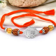 4 mukhi Rakhi Citrine bead with pure silver accessories in thread - V