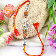 4 mukhi Rakhi with pure silver accessories in thread - IV