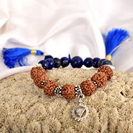 4 Mukhi Rudraksha and Lapis Lazuli Bracelet - I (Throat)