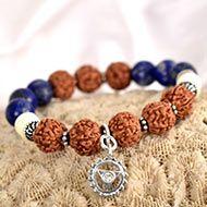4 Mukhi Rudraksha and Lapis Lazuli Bracelet - II (Throat)