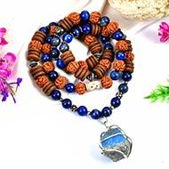 4 Mukhi Rudraksha and Lapis Lazuli Mala (Throat)