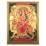 Durga Maa Photo in Golden Sheet - Large