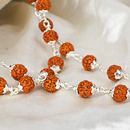 Rudraksha mala 6mm in silver flower caps - Chikna beads