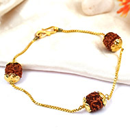 Rudraksha punchmukhi Bracelet in pure gold chain