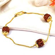 Rudraksha punchmukhi Bracelet in pure gold chain