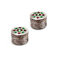 Haldi Kumkum containers in silver - Tiny