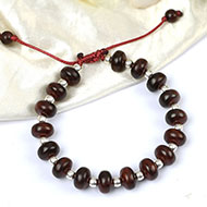 Red Sandalwood with silver ball bracelet - Elliptical beads