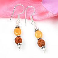 Yellow Sapphire and Rudraksha earring-Design IV