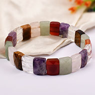 Navratna Gemstone Faceted Bracelet - Rectangular beads