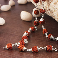 Rudraksha mala in silver flower caps