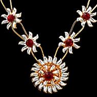 Red stone flower mala in silver
