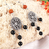 Rudraksha Black Agate Earrings - II