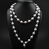 Pearl mala in pure silver caps - 10 mm