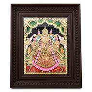 Goddess Dhana Lakshmi Tanjore Painting - Small