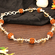 4 mukhi Java bracelet with Citrine beads in flower caps