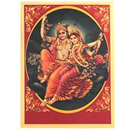 Radha Krishna Photo in Golden Sheet - Large V
