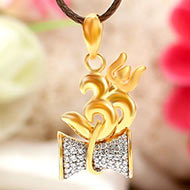 Om Locket with Damru in pure Gold - 2.6 gms