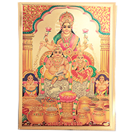 Kuber Lakshmi Photo in Golden Sheet - Large