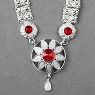 Floral Designer Necklace in pure silver - II