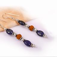 Rudraksha Lapis Lazuli Earring - I