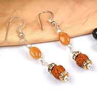 Yellow Sapphire and Rudraksha earring - Design I