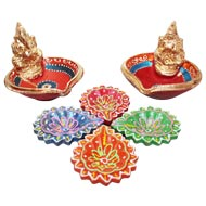 Laxmi - Ganesh and Flower diya Set - 4+2