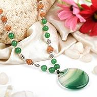 Green Jade and Rudraksha Beads Mala