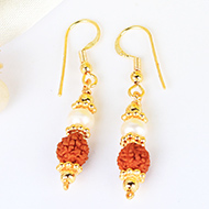 Rudraksha and Pearl in Gold Earring Set