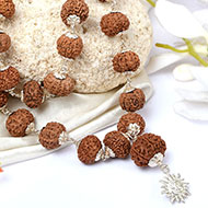 10 mukhi Narayan mala in silver caps - 17mm