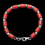 Cylindrical Coral Bracelet with pure silver balls