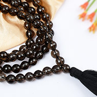 Smoky Quartz Round faceted mala - 8 mm
