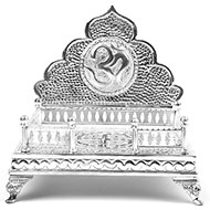 Om Swastik deity throne in pure silver
