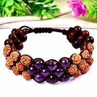 Rudraksha with Red Sandal beads and Amethyst Faceted beads bracelet