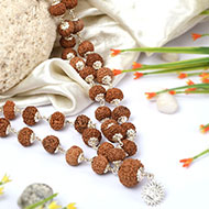 10 mukhi Narayan mala in silver caps - 15mm
