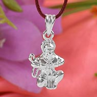 Hanuman locket in pure silver - Design II