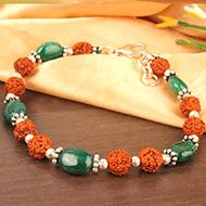 Rudraksha Emerald Bracelet
