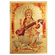 Goddess Saraswati Photo in Golden Sheet - Large