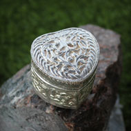 German Silver Container - Heart  Shape