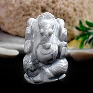 Howlite Ganesha - 46 gms