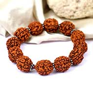 5 mukhi Guru bracelet with silver spacers - 15 mm