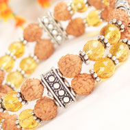 4 mukhi Java Double Turn Bracelet with Citrine beads in silver chakri
